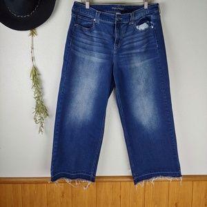 Maurices Whiskered Raw Hem Wide Leg Crop Jean